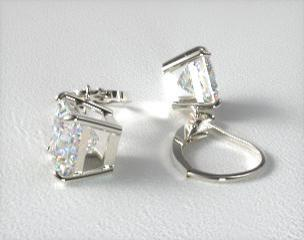 Platinum Leverback Dangle Princess Cut Earring Settings