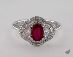 18K White Gold - 0.78ct  - Red
