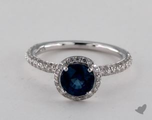 18K White Gold 1.13ct  Round Blue Sapphire Milgrain Halo Ring