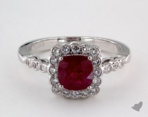 18K White Gold - 1.06ct  - Red