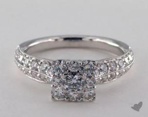 Royal Halo Princess Shape Pave Engagement Ring