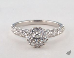 14K White Gold Royal Halo Three Row Pave Engagement Ring