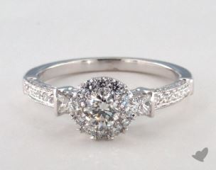 Platinum Royal Halo Princess and Pave Engagement Ring