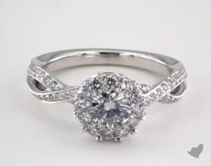 Platinum Royal Halo Cross Over Engagement Ring