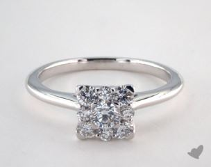 14K White Gold Royal Halo Classic Princess Shape Engagement Ring