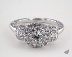 Platinum Royal HaloThree Stone Cushion Shape Pave Engagement Ring