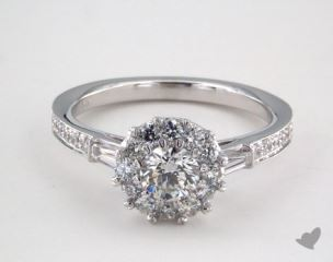 Platinum Royal Halo Tapered Baguette Engagement Ring