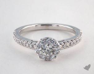 Platinum Royal Halo Swallow Tail Pave Engagement Ring