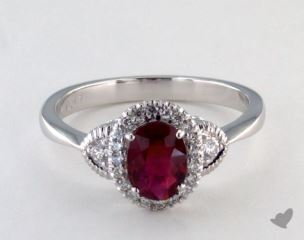 18K White Gold - 0.75ct  - Red