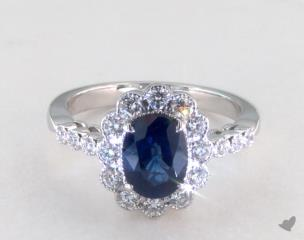 18K White Gold - 1.53ct  - Blue - 18K White Gold Halo Ring 1.53ct Oval Blue Sapphire D.54